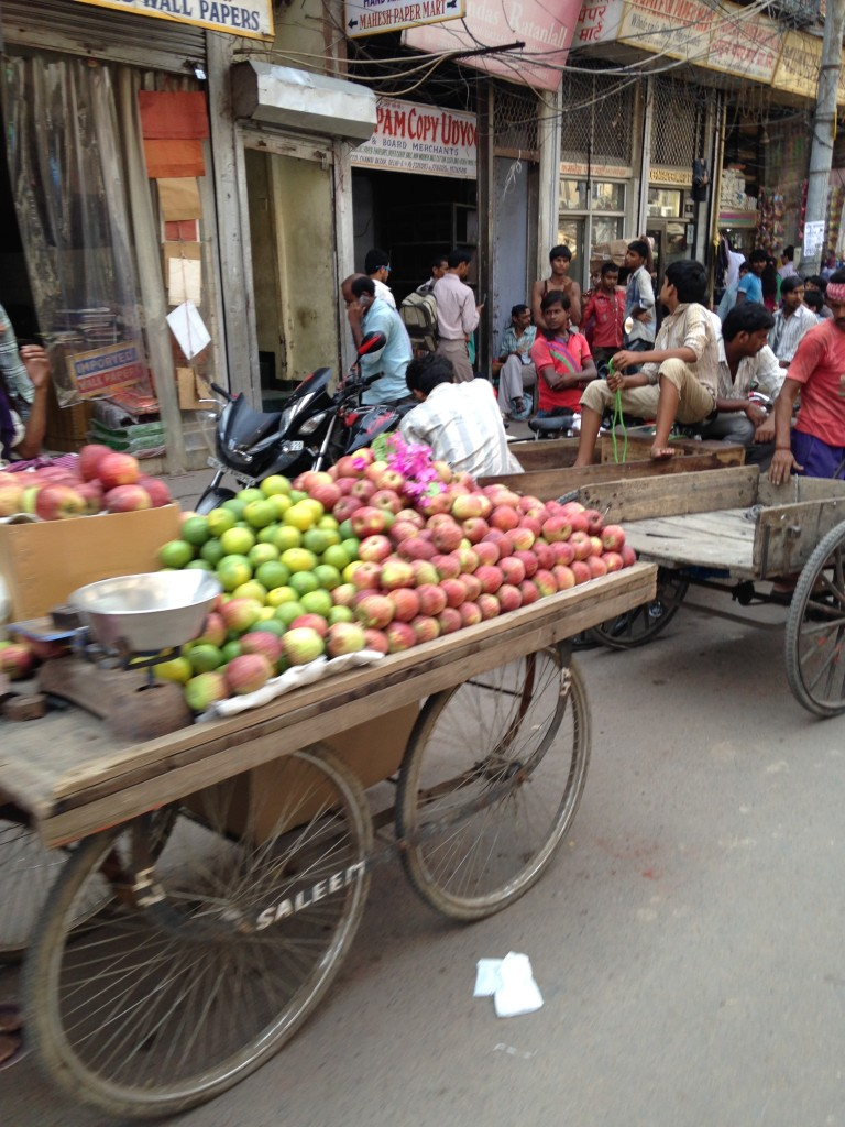fruit cart and lots of men