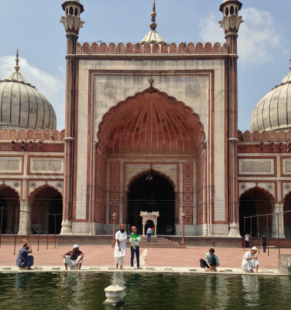 mosque with algae in pool