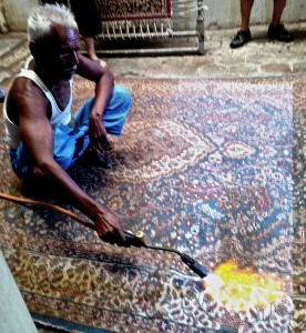 Torching silk carpet