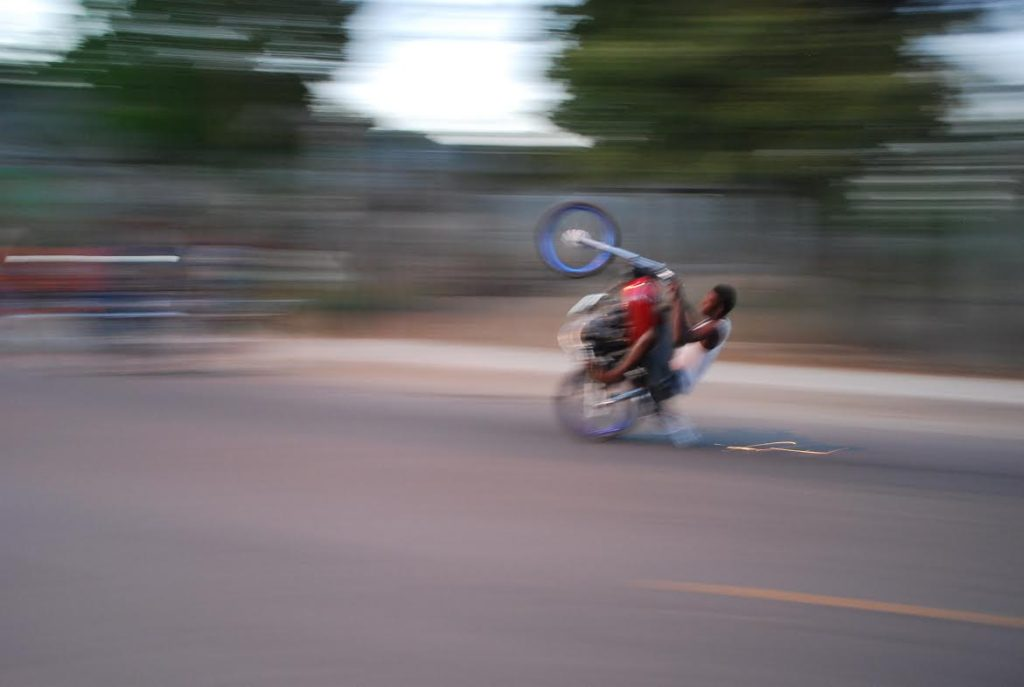 Sparks fly on this wheelie