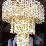 Shell chandelier at Boca Marina