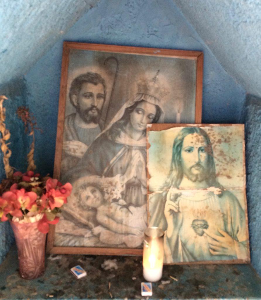 Inside the roadside shrine