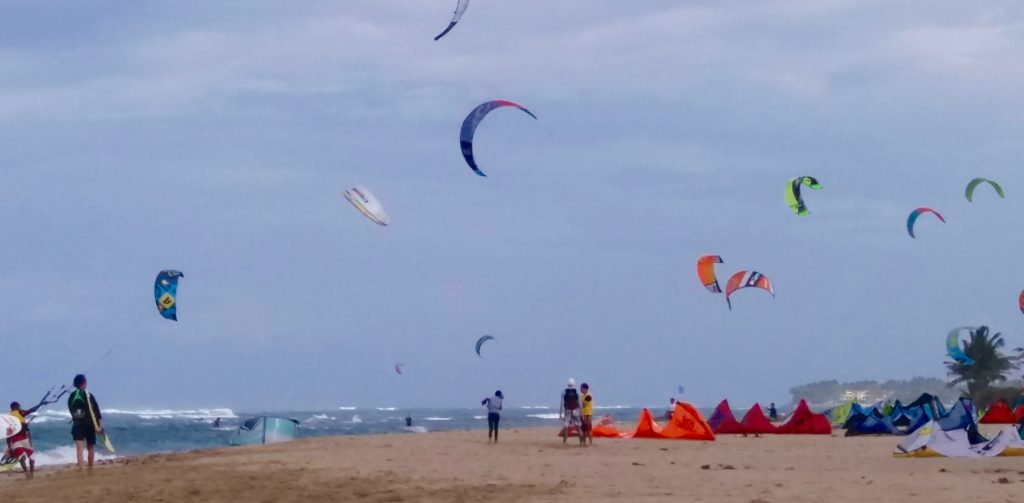 Cabarete kites in the air & on the sand