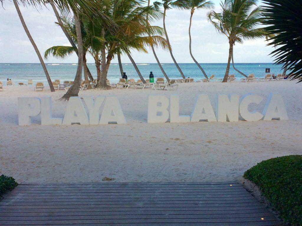 Playa Blanca sign and beach