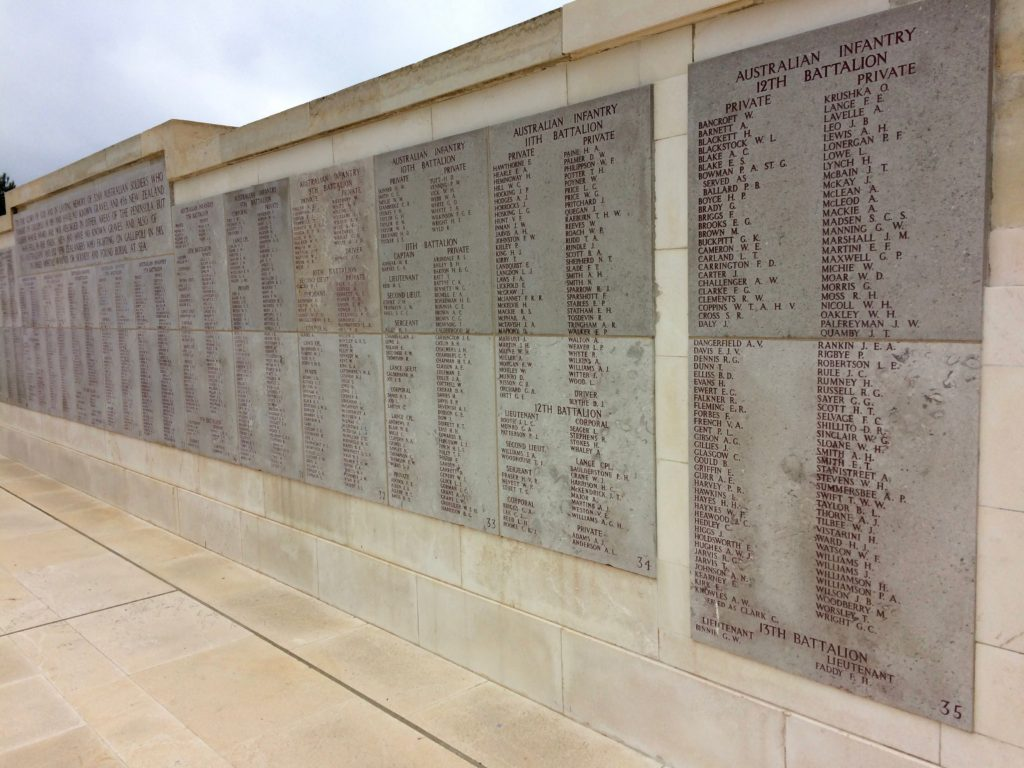 Wall of names at Lone Pine Cemetery