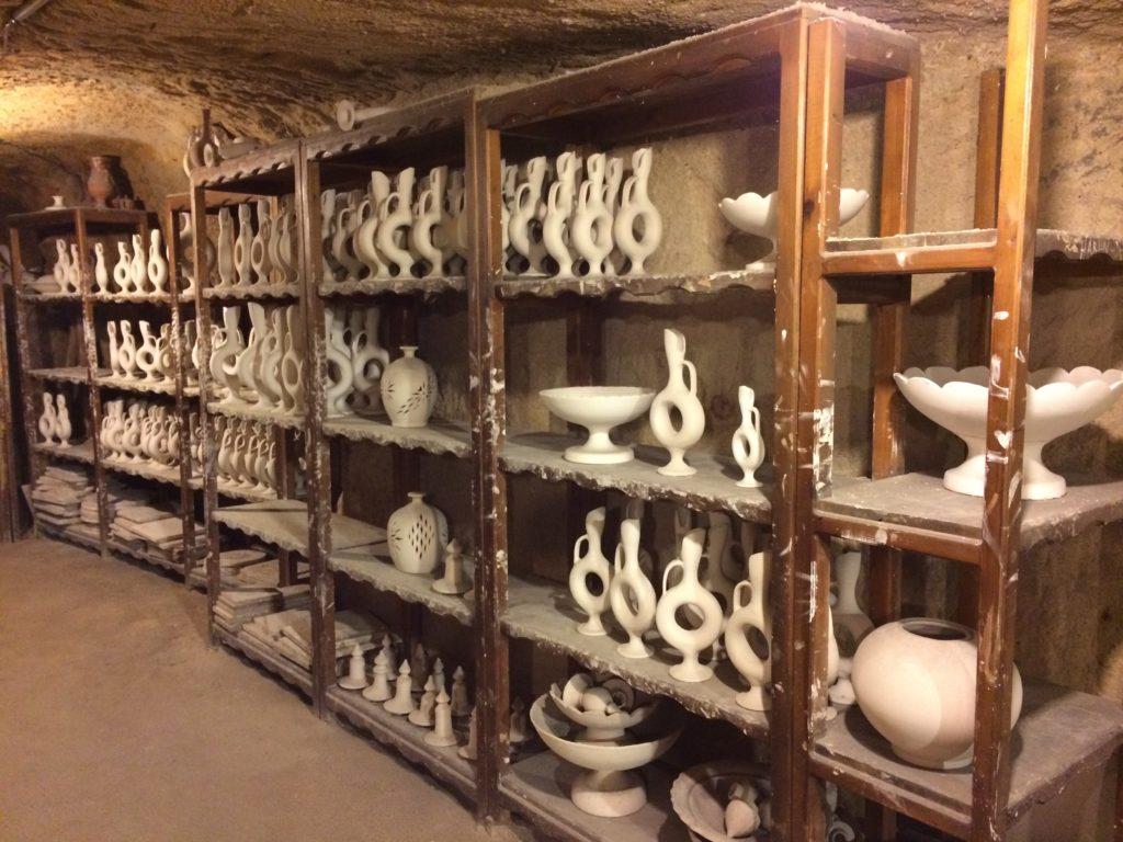Shelves of greenware