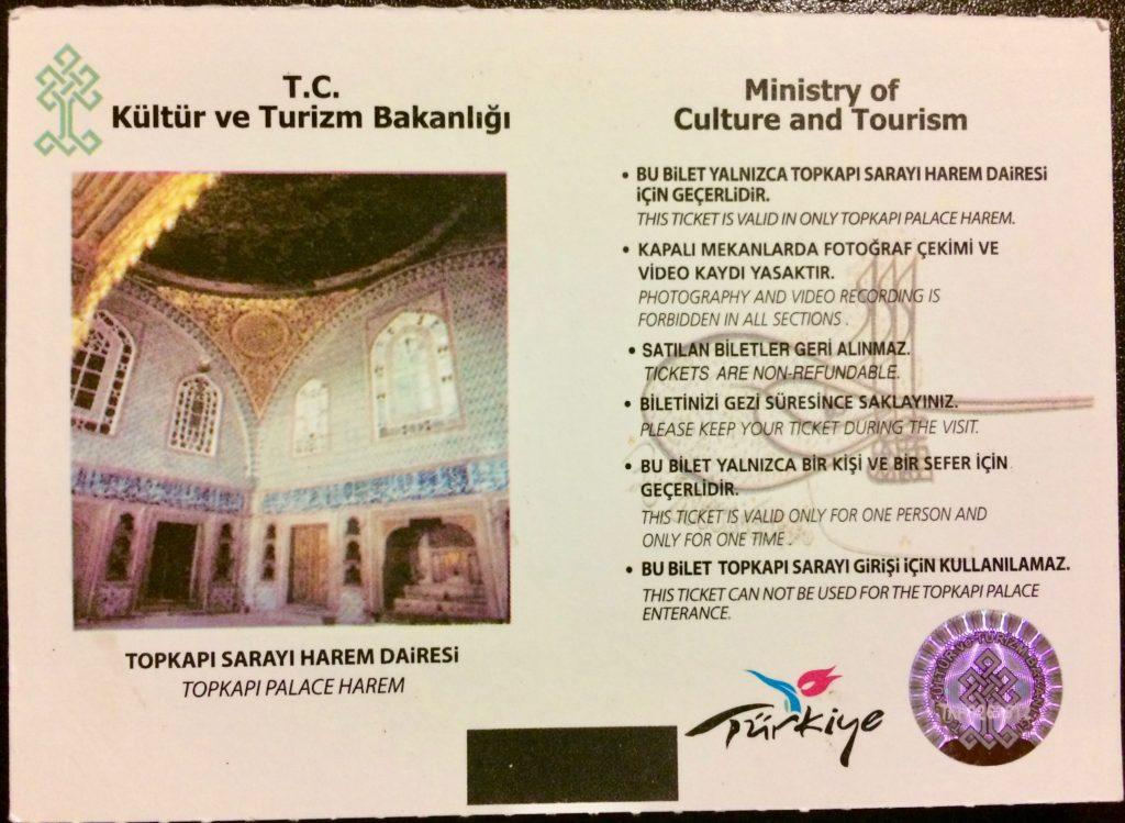 Topkapi Palace Harem ticket