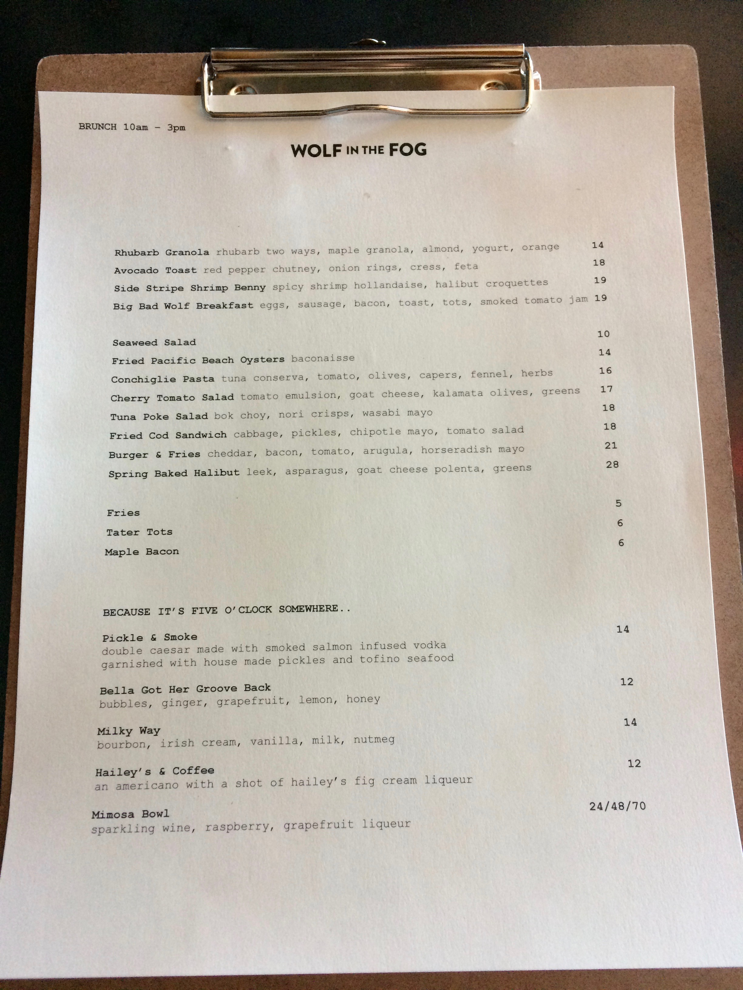 Menu at Wolf in the Fog