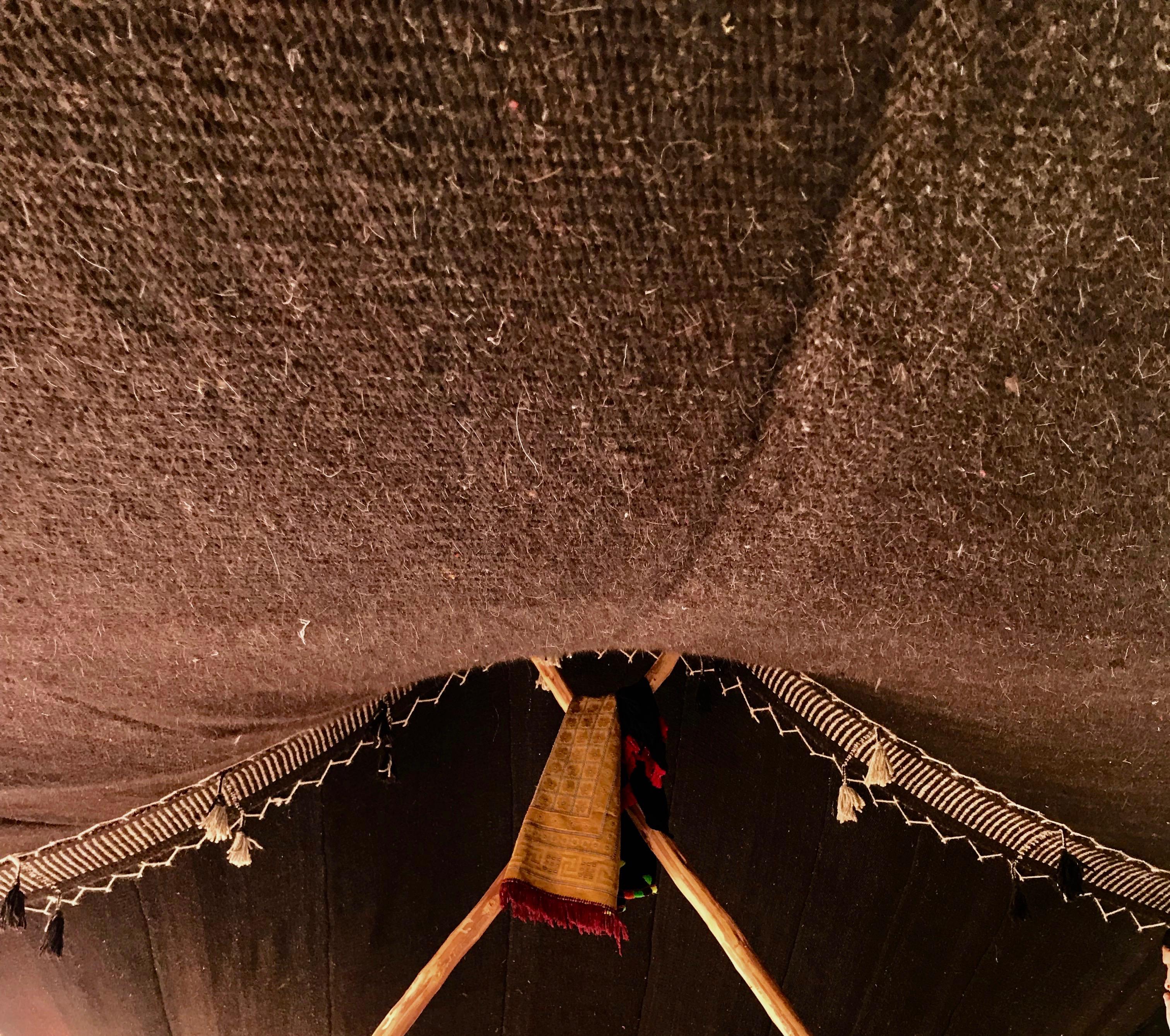 Bedouin tent inside roof