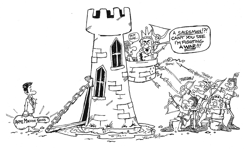 Cartoon - A salesman, can't you see I'm fighting a war?