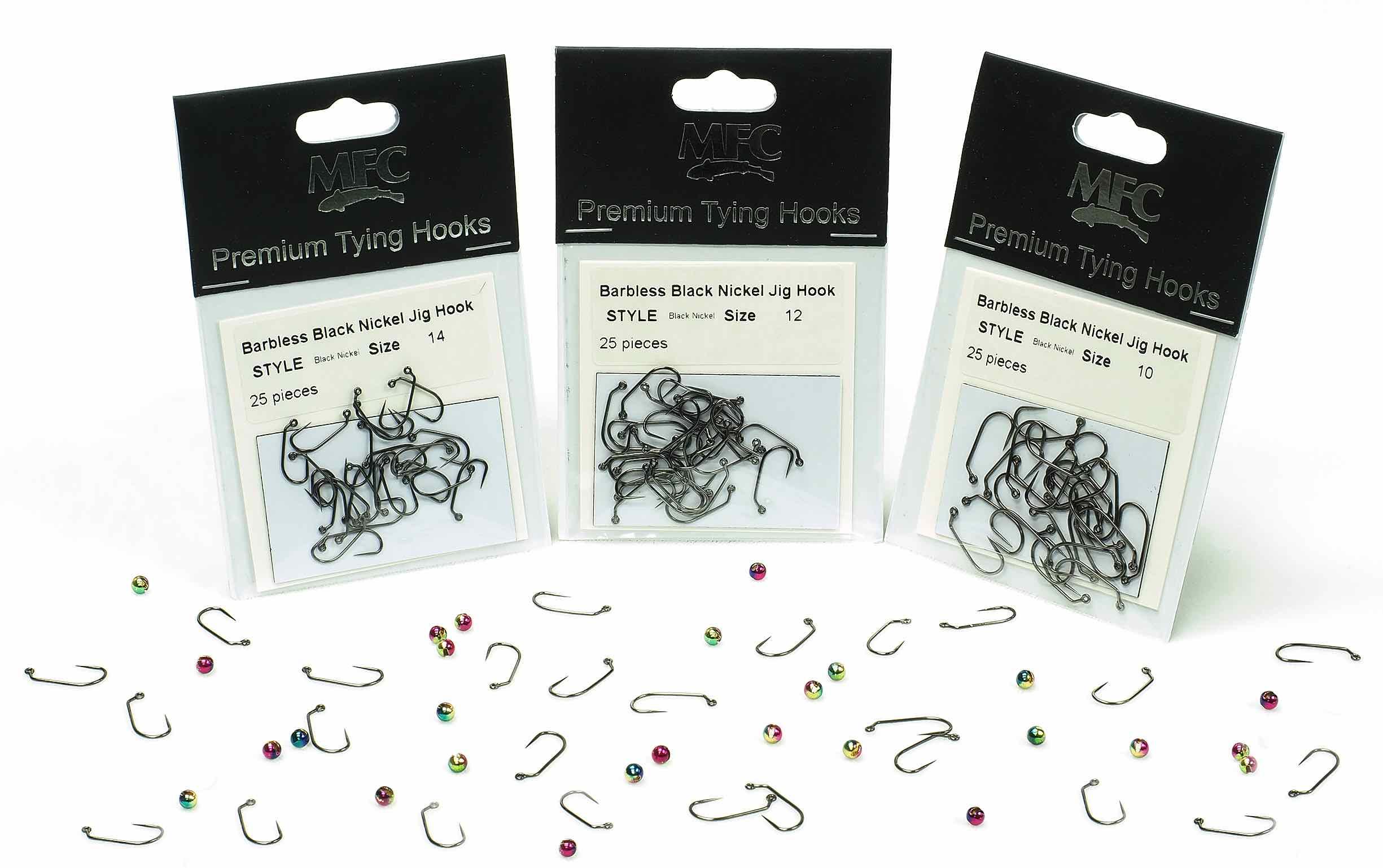 MFC - Montana Fly Company Premium Tying Hooks - Barbless Black Nickel Jig Hooks.