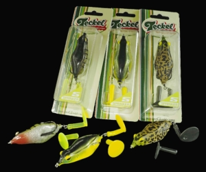 Lucky Craft's Teckel Brand Sprinkler Frog Assortment.