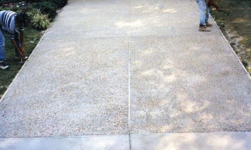 McLean exposed aggregate concrete driveway