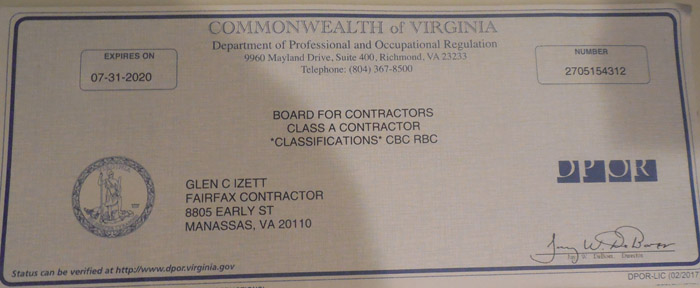 Fairfax Contractor License And Insurance Certificates