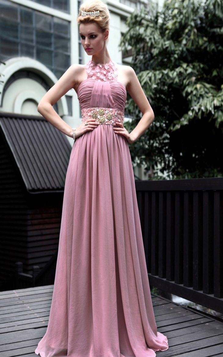 A-line-Natural-Waist-With-Beading-Chiffon-Evening-Gowns