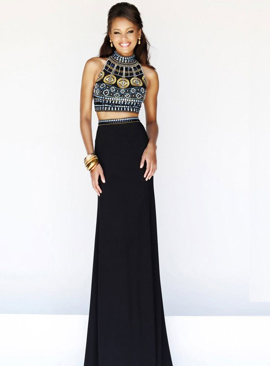 Beaded High Neck Two Piece Black Multi Dress