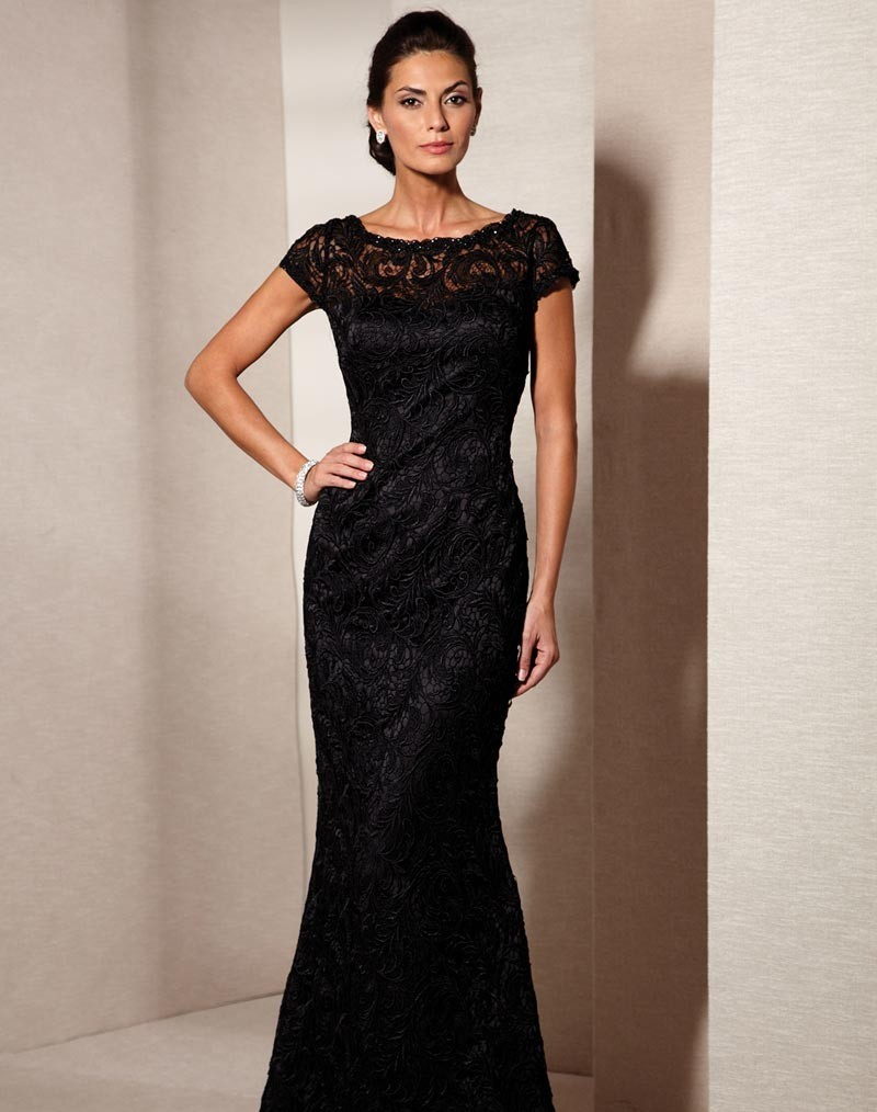 Elegant Black Lace Evening Gown