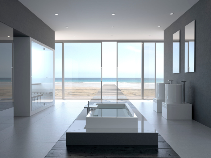 Designer Bathroom with Oceanview