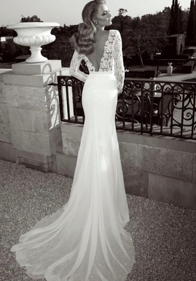 Perfection long sleeve backless lace wedding dress