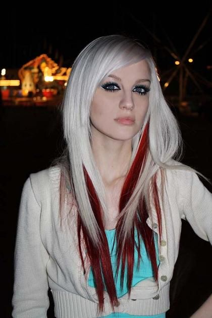 Platinum blonde hair with red streaks