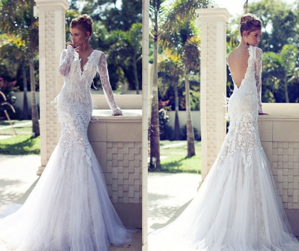 Romantic-White-Backless-Feather-Lace-Long-Sleeve-Mermaid-Wedding-Dress