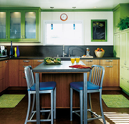 Small-Kitchen-Ideas-Yellow-Cabinet-And-Blue-Chairs