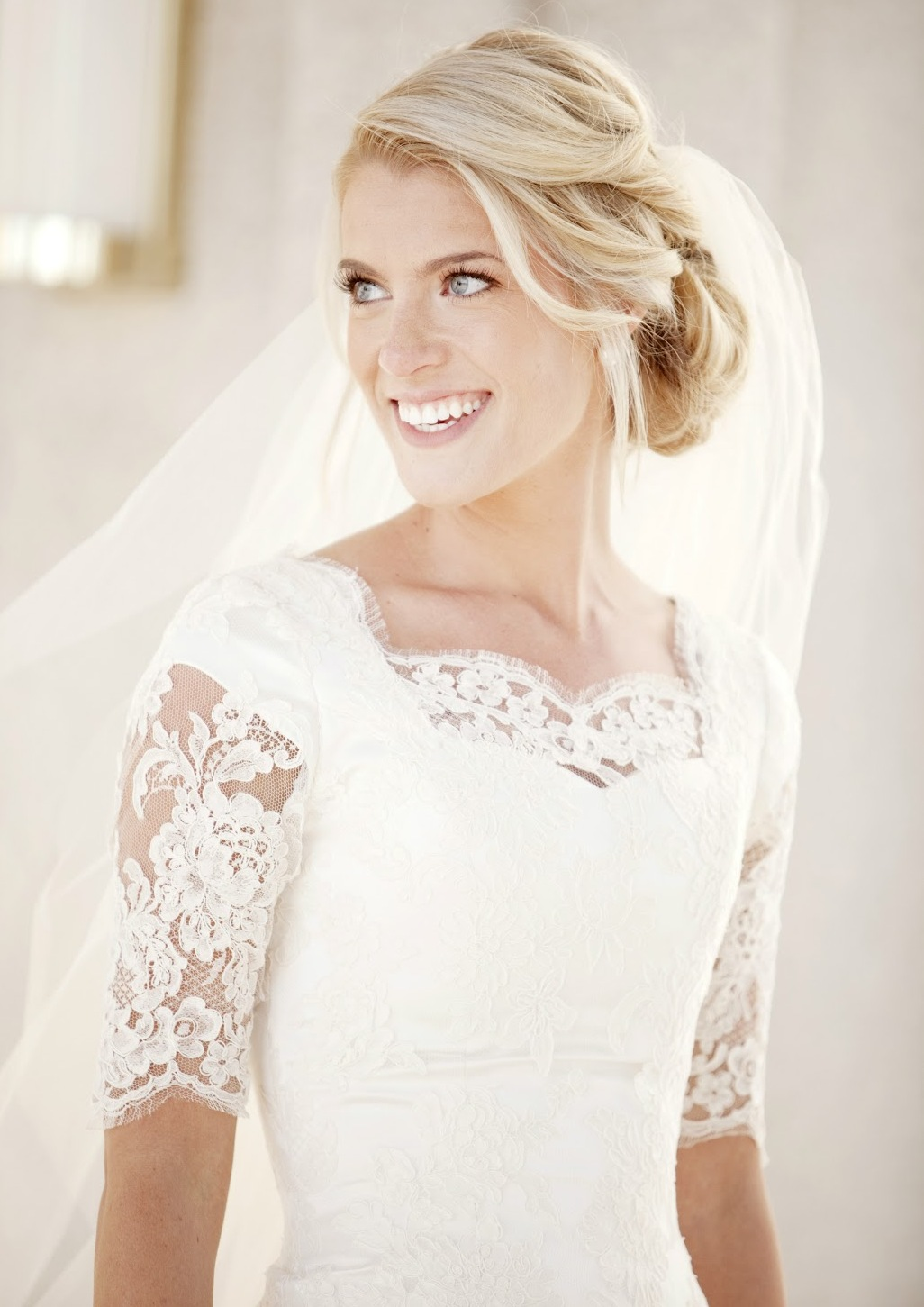 elbow-sleeve-lace-modest-wedding-dress