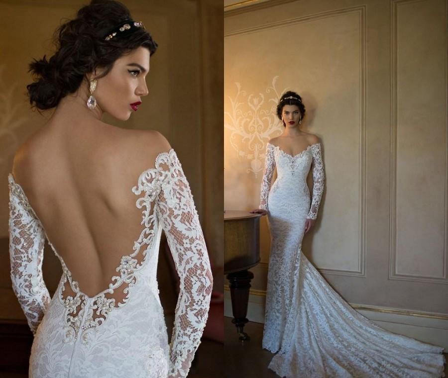 mermaid-wedding-dresses-v-neck-long-sleeves-backless