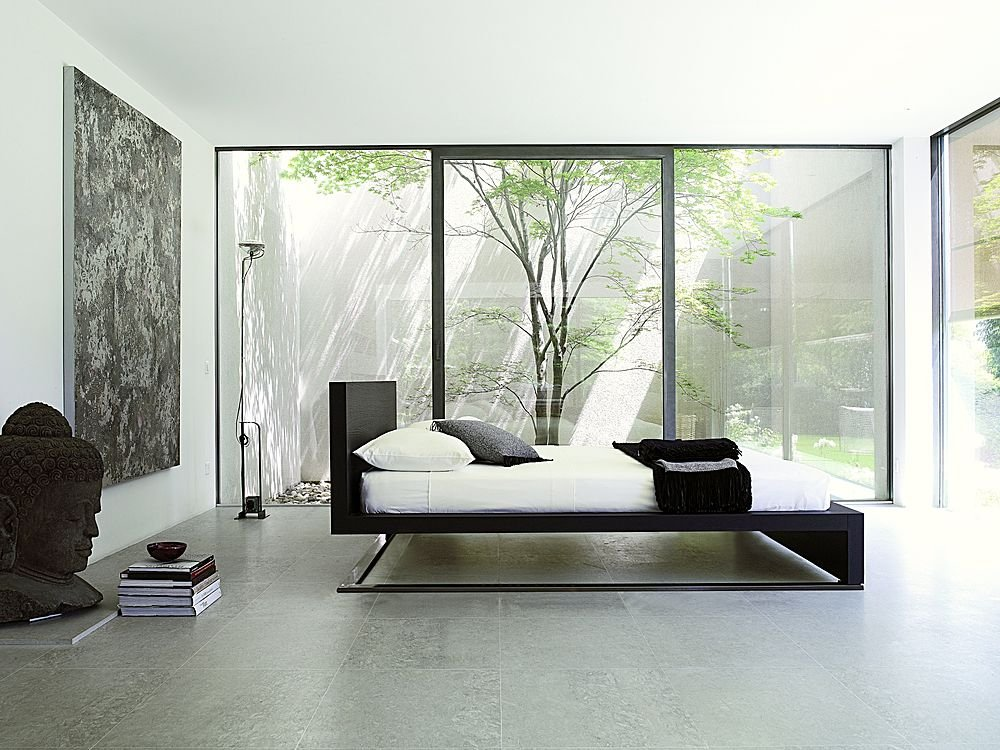 Contemporary-Asian-Bedroom-Design-Buddha-Statue-Floating-Bed