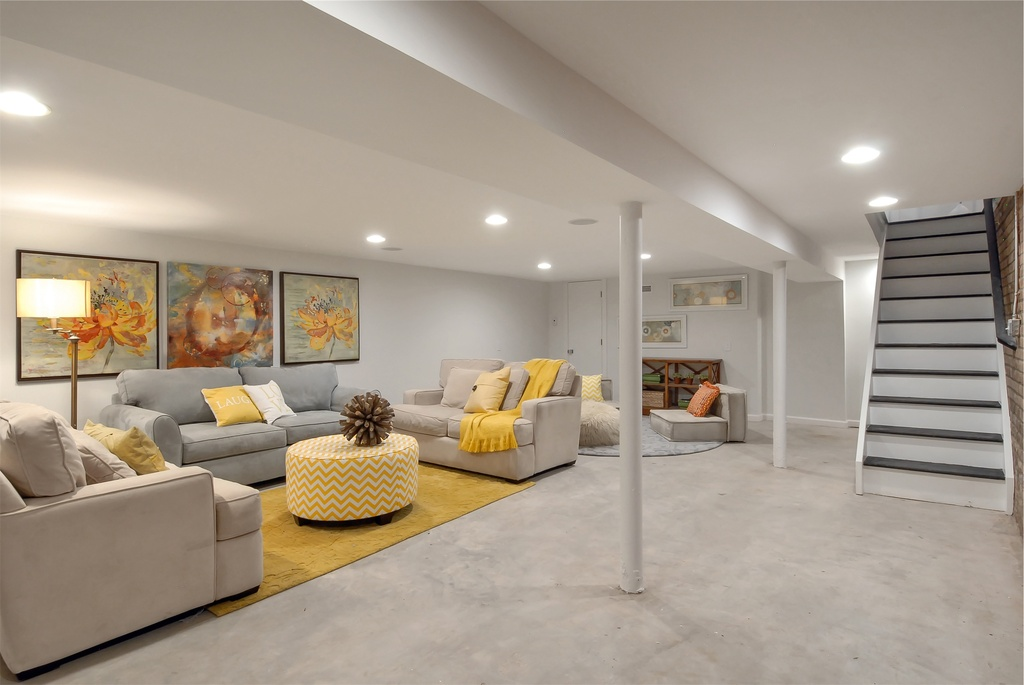 Contemporary Basement with Carpet