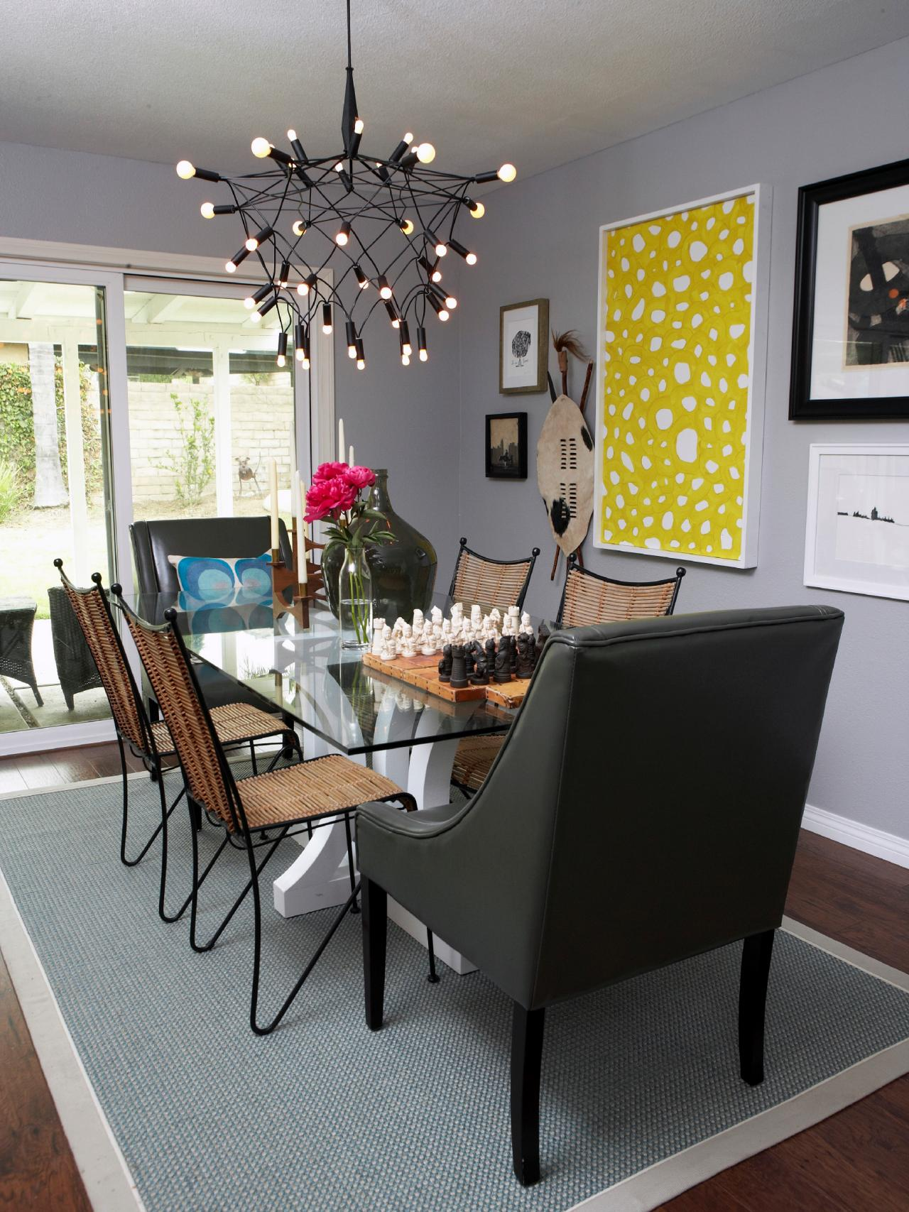 Eclectic Dining Room With Unique Chandelier