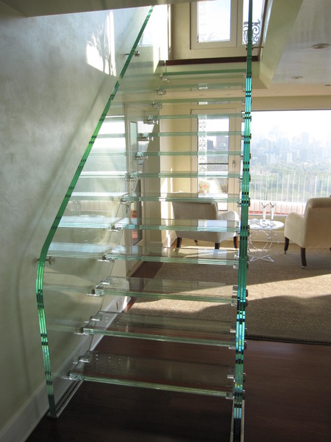 Full Glass Stair modern-staircase
