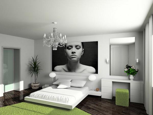 Modern-Bedroom-Design-with-Platform-Bed-and-Chandelier