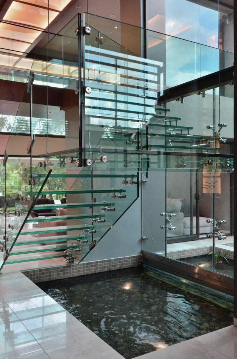 Modern-Glass-Staircase-Design-Ideas-with-Pool-Under-The-Stair