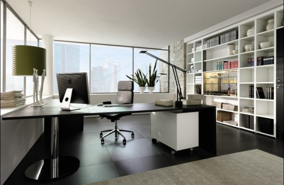Modern home office with L-shaped glass desk
