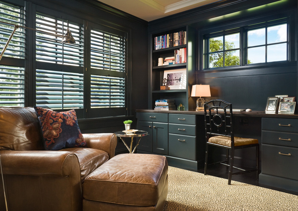 Pretty-Home-Office-Traditional-design-ideas-for-Slate-Blue-Walls-Decor-Ideas