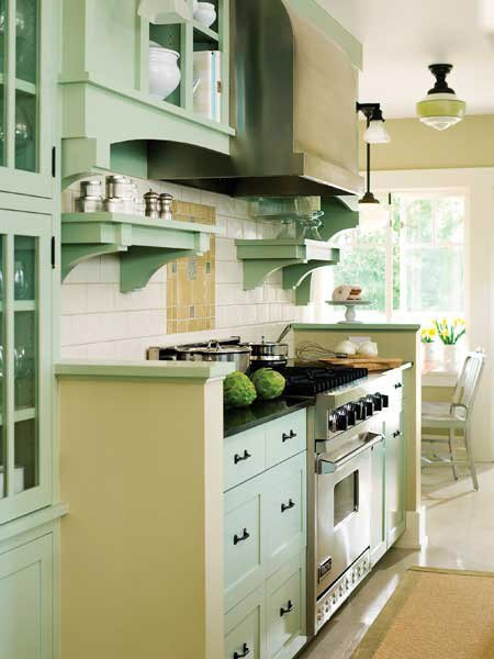 Seafoam Green and a Craftsman Galley Kitchen Update