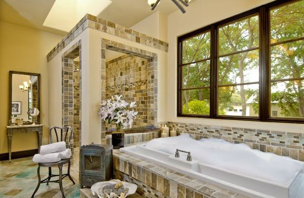 Shower-Area-From-Bathtub-Space-With-Eclectic-Bathroom-Design-Ideas