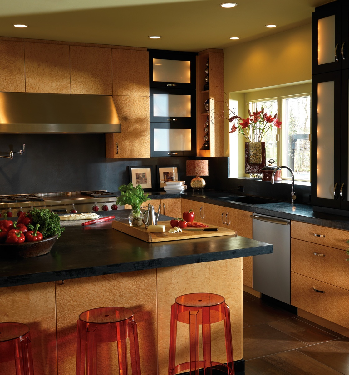 big-brown-asian-kitchen-island-with-black-countertops-set