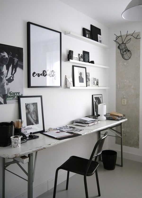 eclectic-home-office-with-gorgeous-floating-shelves