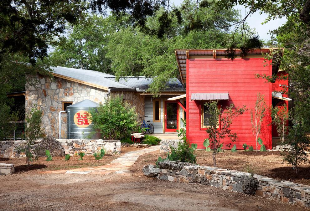 funky-home-decor-Exterior-Eclectic-with-accent-color-farmhouse-garden