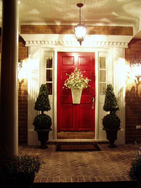 traditional-entry-pictures-exterior-doors-front-red-paint-decorating-ideas-brick-wall-decoration