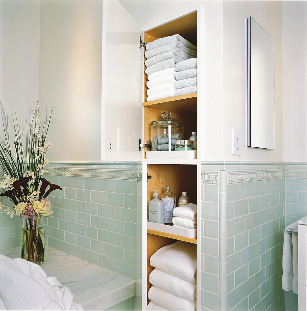 Baroque-Linen-Closet-method-San-Francisco-Traditional-Bathroom-Decorating-ideas-with-accent-tiles-bathroom-storage-built-in-storage-canister-set-floral-arrangement-green-tile-marble
