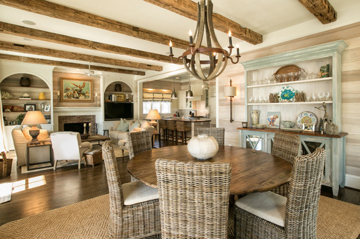 Beach Style Dining Room Basement Decorating Ideas for Cozy Family