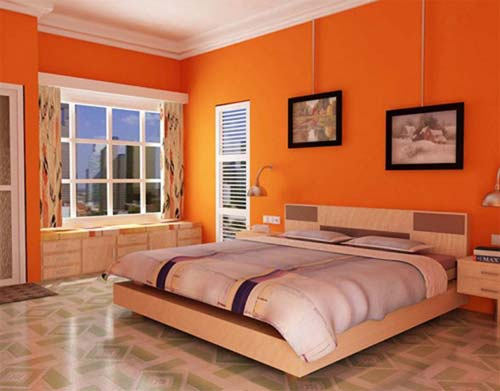 Bright-Orange-Bedroom-Wall-Painting-with-Neutral-Colors
