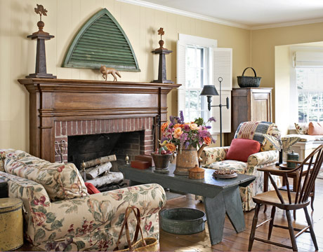ColorfulCottageLivingRoomFireplaceLivingRoom Design