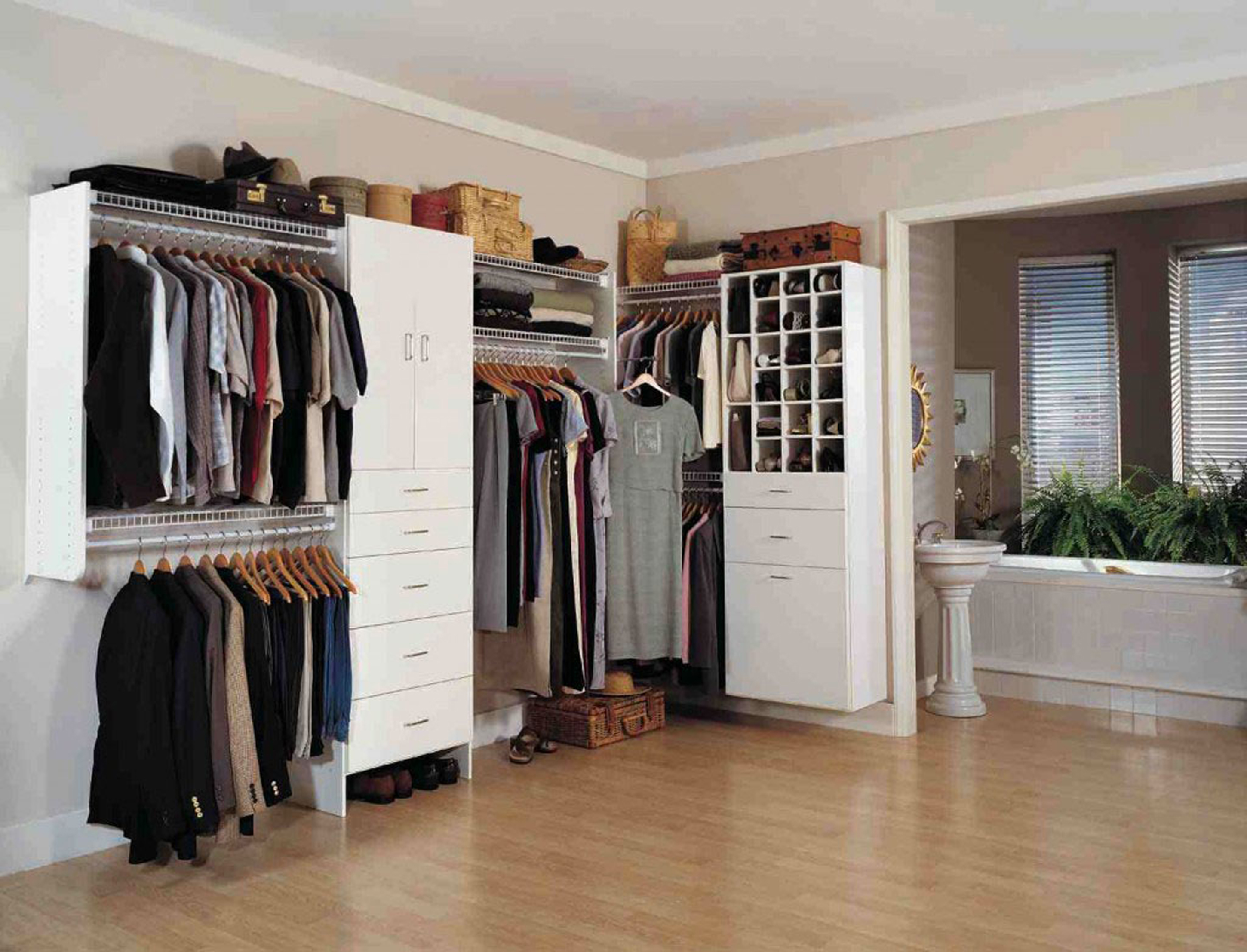 Creative-Modern-Walk-In-Closet-Design-Idea-In-White-With-Shoe-Storage-White-Drawers-And-Colorful-Clothes-Amazing-Modern-Walk-In-Closet-Design-Ideas