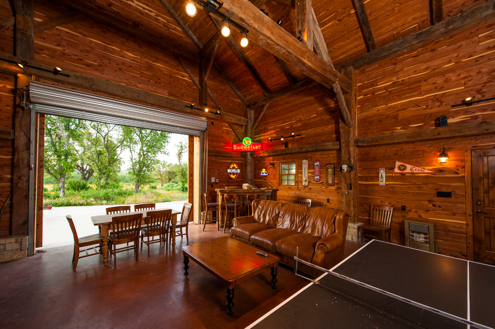 Electropolished-Steel-Foosball-Table-Family-Room-Farmhouse-with-bar-barn
