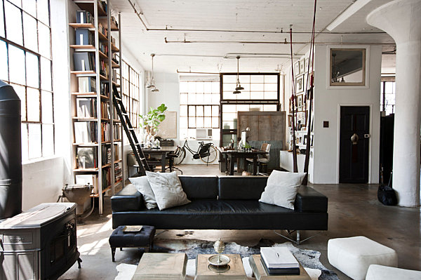 Industrial-New-York-living-room-with-exposed-pipes