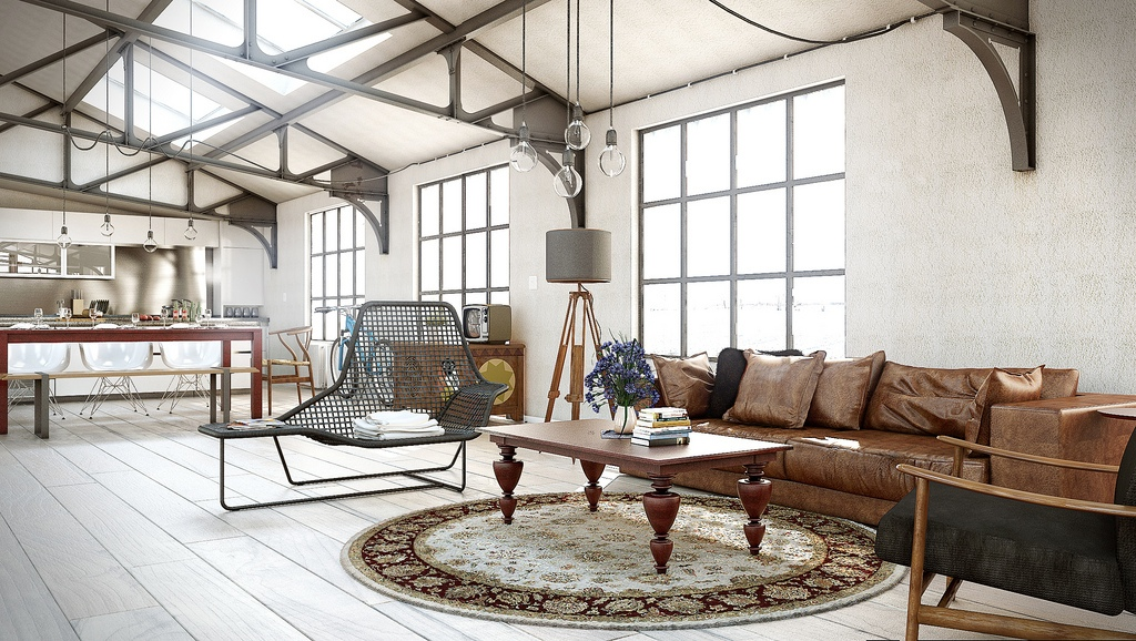 Open-Plan-Industrial-Living-Room